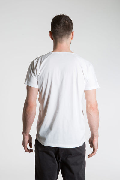 so we flow... mens white yoga t-shirt with logo graphic back view