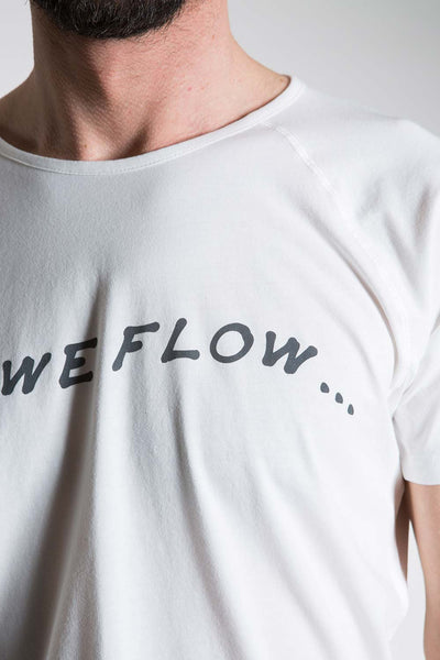 so we flow... mens white yoga t-shirt with logo graphic close up view