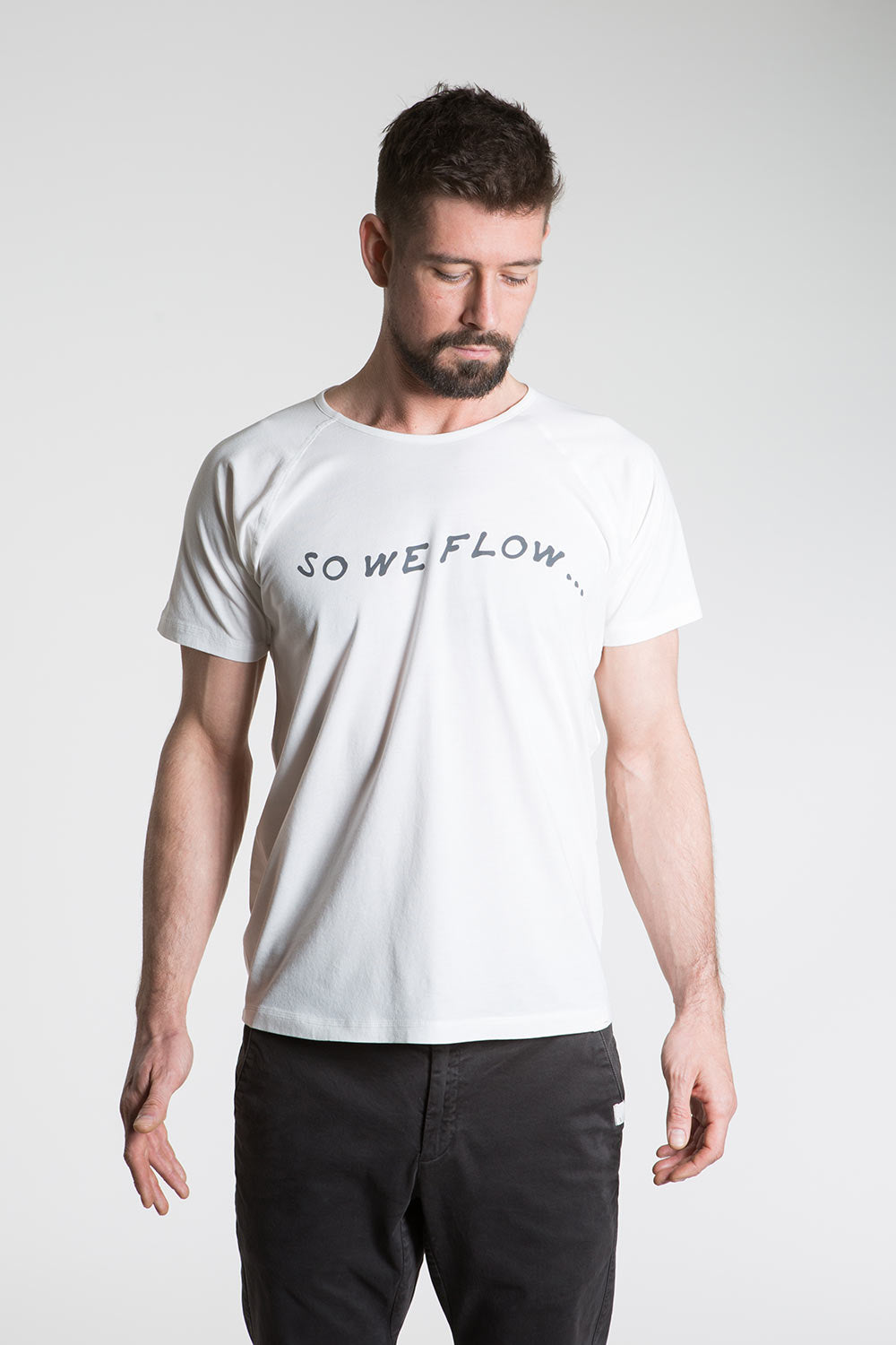 so we flow... mens white yoga t-shirt with logo graphic front view