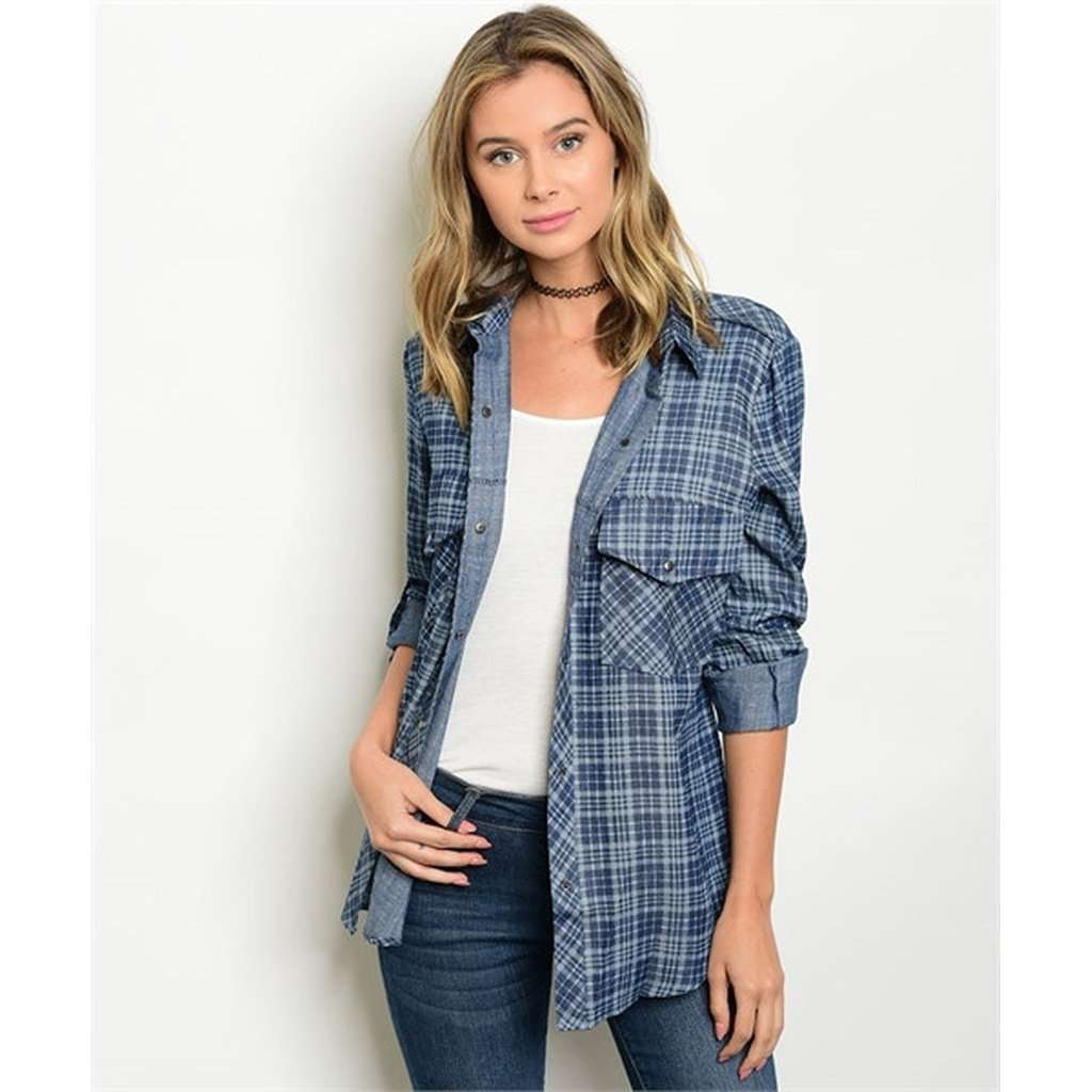 Plaid Denim Button Down Top