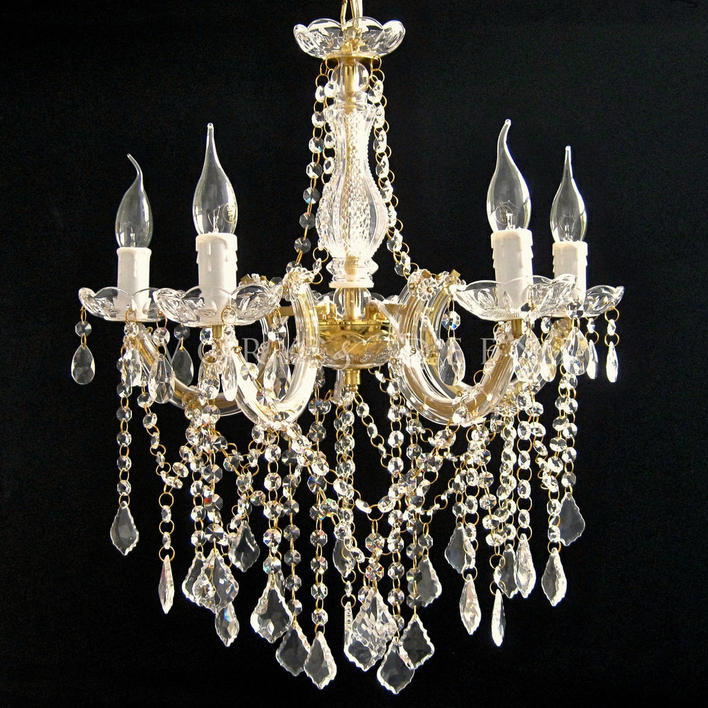 Chandelier 5 light gold gold crystals allure ivory deene luxury gold glass crystal chandelier marie therese 5 light white tubes aloadofball Gallery
