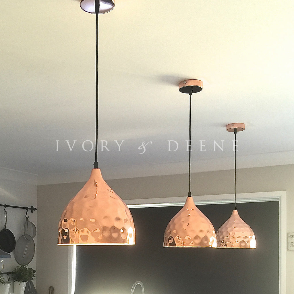 Nora copper hammered pendant light ivory deene pendant light copper hammered nora mozeypictures Image collections