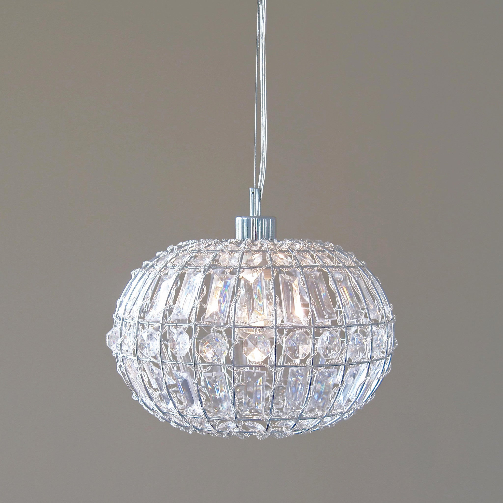 LILY PENDANT LIGHT Chic Round Crystal Ball Hanging Lamp – Ivory