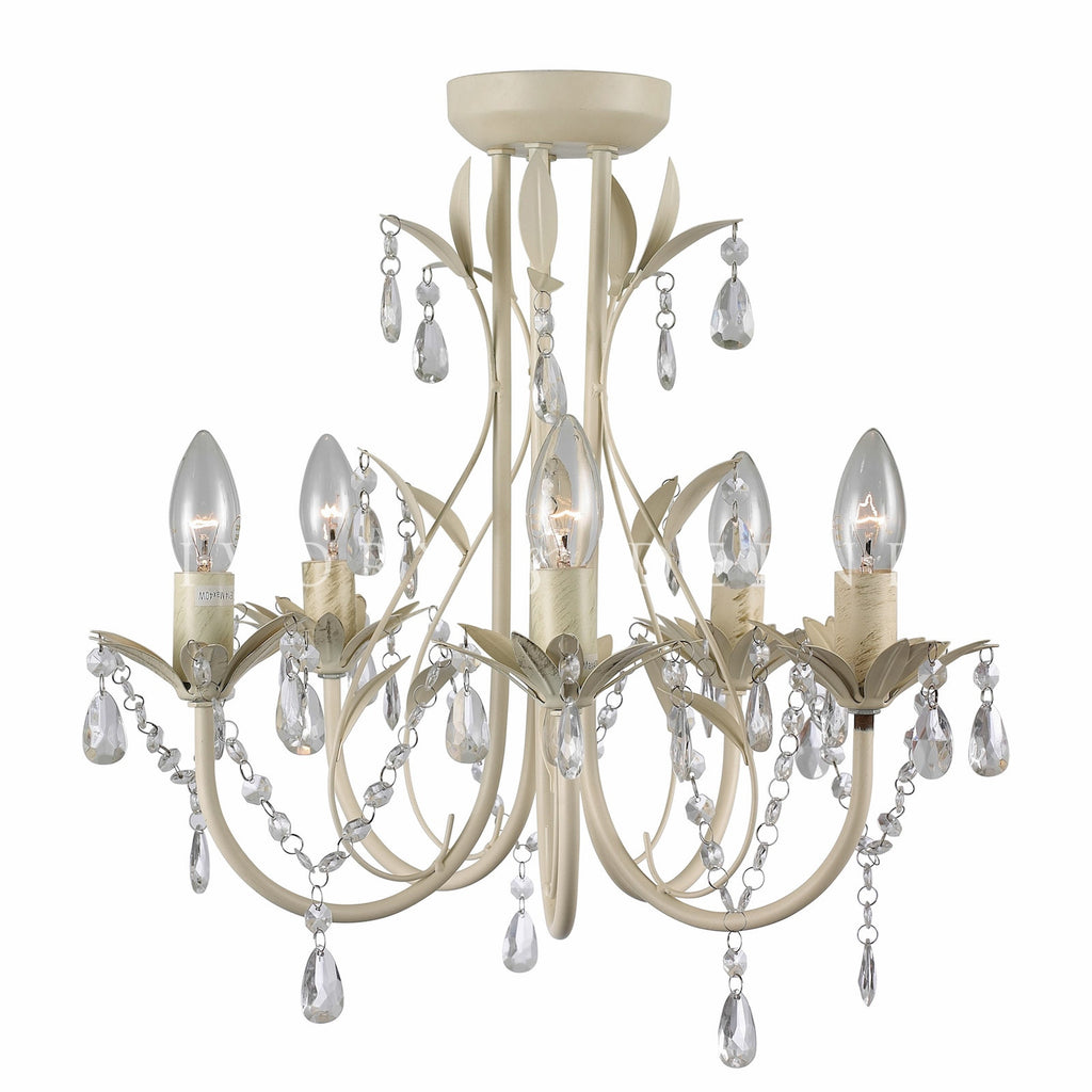 Chandelier 5 light french provincial harmony ivory deene shabby chic chandelier with leaf detail and glass crystals aloadofball Gallery
