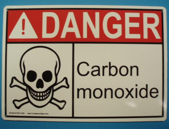 DANGER CARBON MONOXIDE MOUNTABLE SIGN