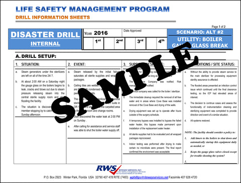 RWS-DISASTER SCENARIO-UTILITY-BOILER GAUGE GLASS BREAK-2016