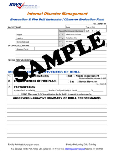 RWS-Fire Drill Evaluation Form Ver 7.0