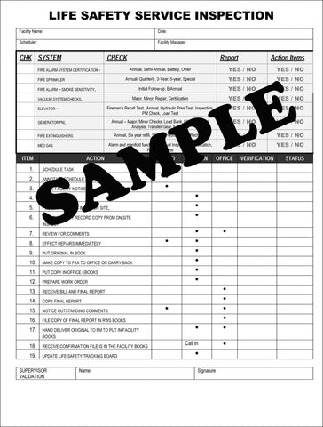 RWS-LIFE SAFETY SERVICE INSPECTION CHECKLIST