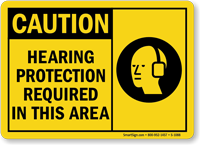 CAUTION HEARING PROTECTION REQUIRED IN THIS AREA MOUNTABLE SIGN