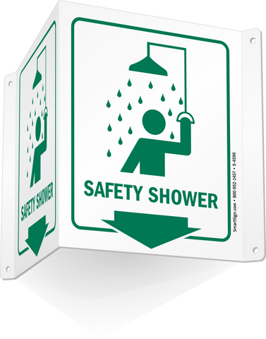 TRIANGULAR SAFETY SHOWER SIGN
