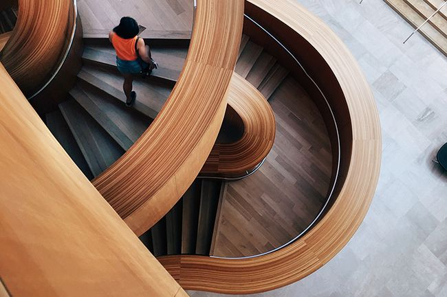Architectural Plywood Panels used in the construction of a beautiful modern staircase