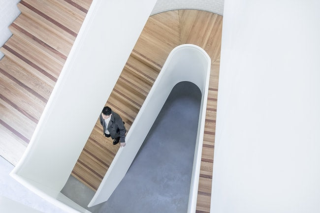 White and Oak Architectural Designed Staircase using Plywood Panels