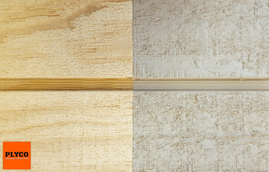 An image of Plyco's Shadow Clad Plywood Grooved Primed/Unprimed