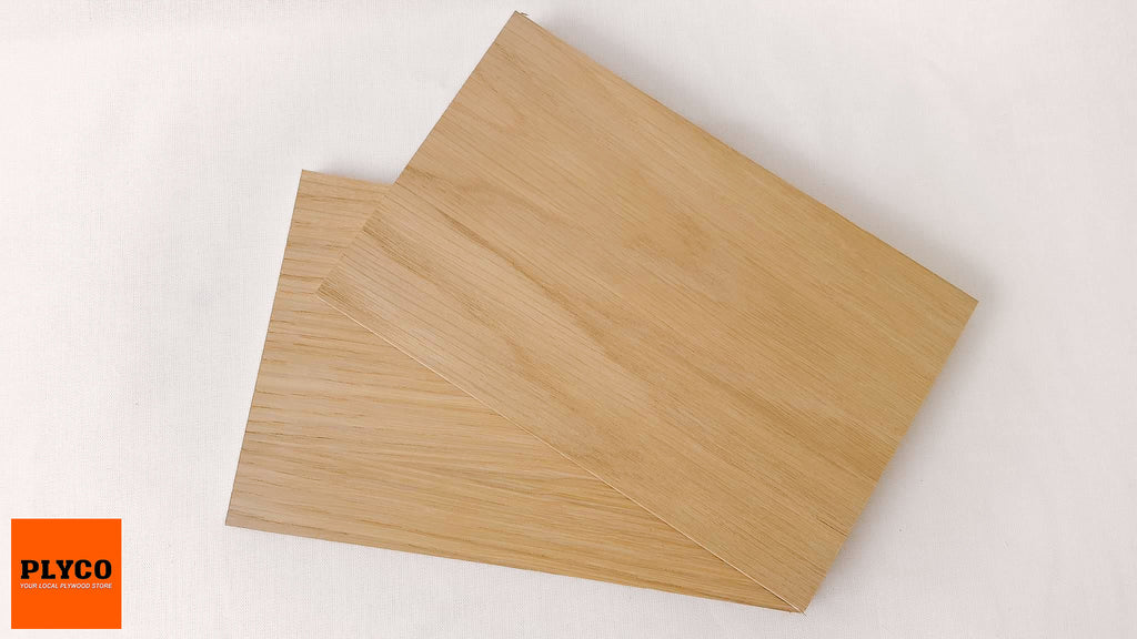 An image of Plyco's American Oak timber veneer on Particle Board