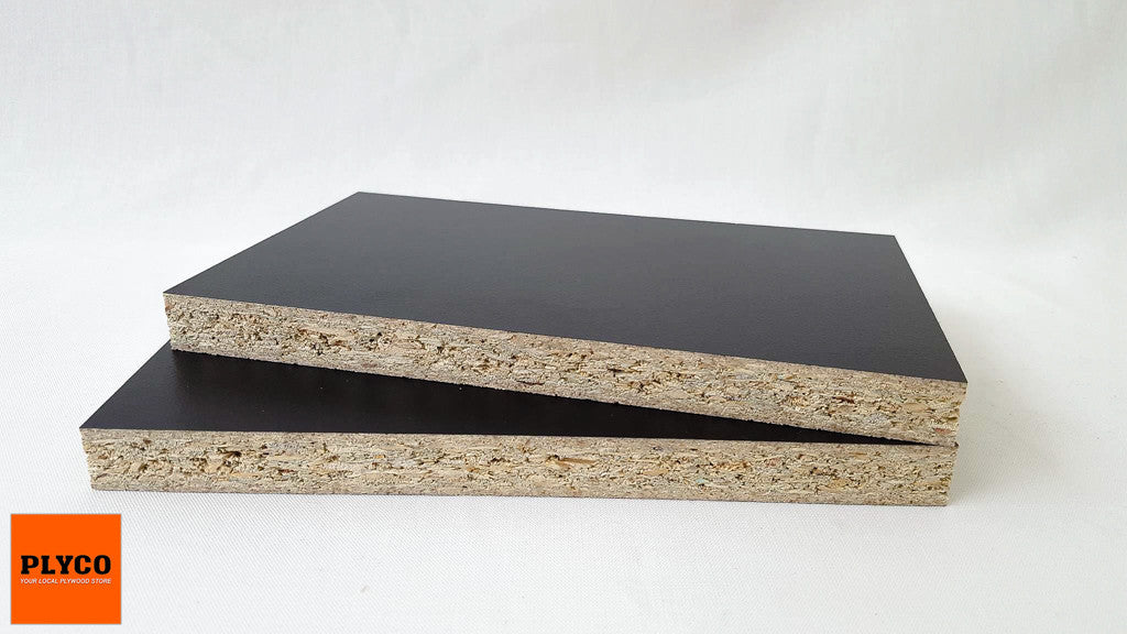 --Image of Plyco's Black Melamine High Moisture Resistant Particleboard--