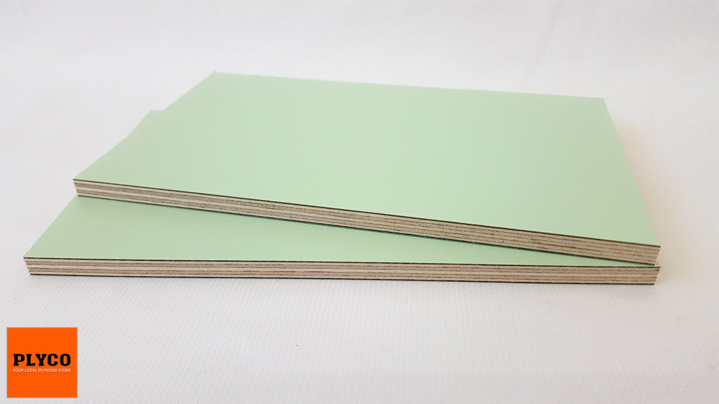 An image of Plyco's Decoply HPL laminate Mint on Birch Plywood