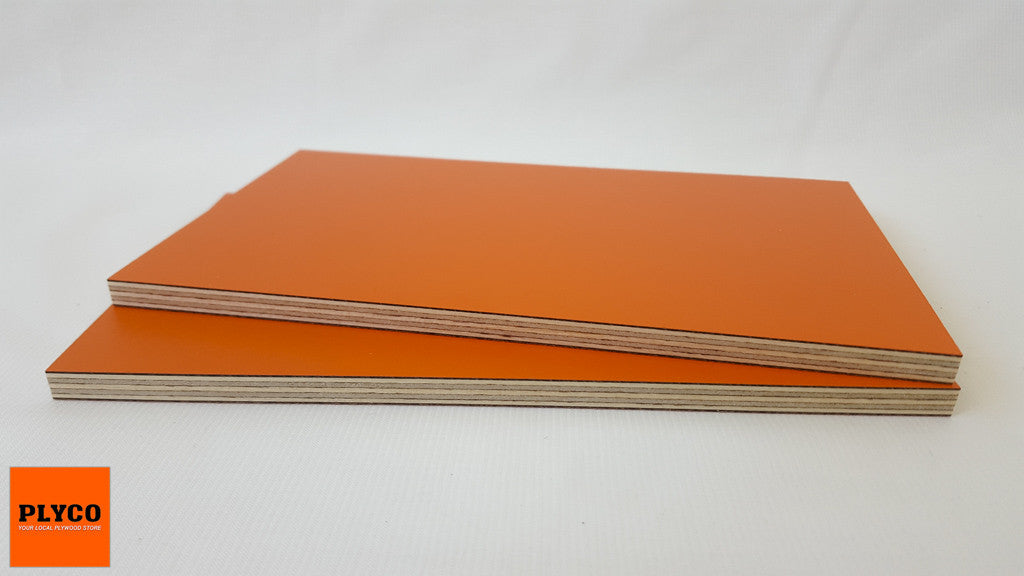 An image of Plyco's Decoply HPL laminate Orange on Birch Plywood