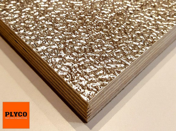 Image of Plyco's architectural Riga Aluminium pattern finish with a Birch Plywood core.