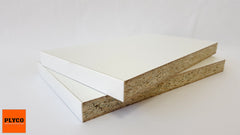 Image of White Melamine High Moisture Resistant Particleboard available at Plyco Fairfield and Plyco Mornington