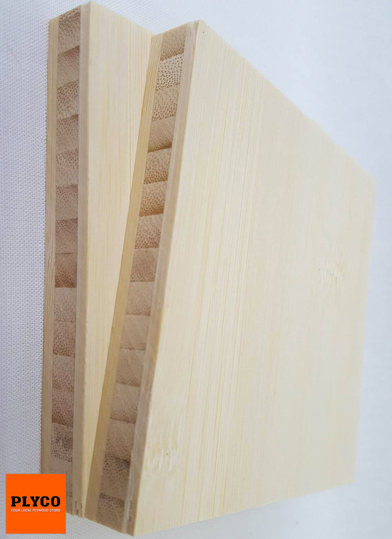 Plyco's Wide Grain Natural Bamboo panel on a white background