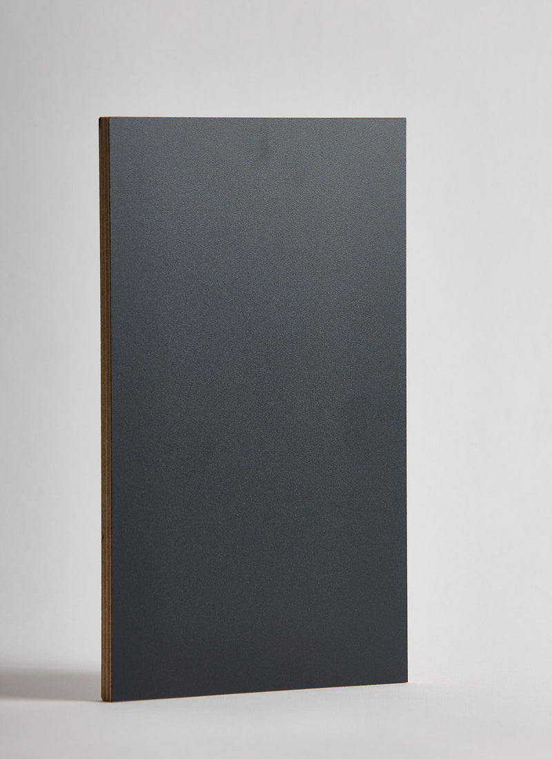 Plyco's Charcoal Decoply laminated plywood on a white background