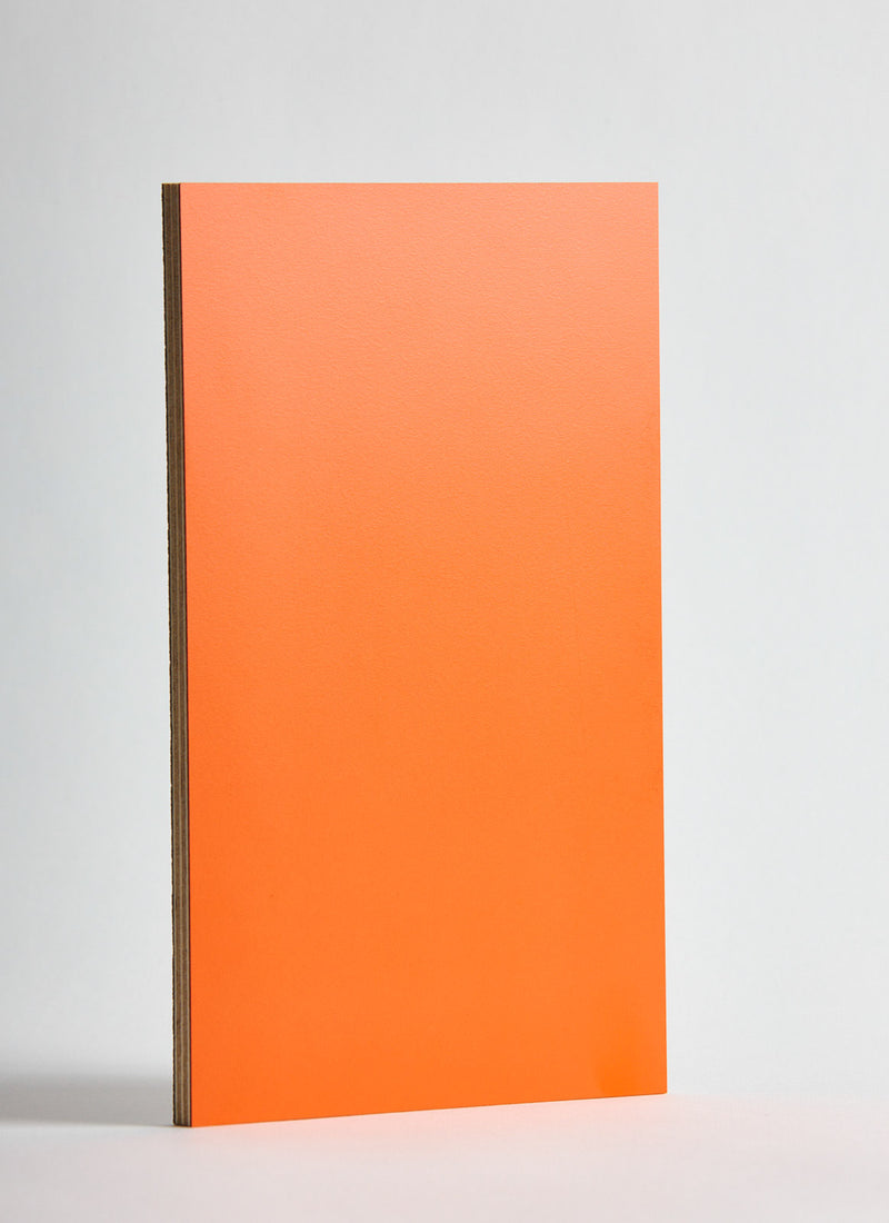Plyco's Orange Decoply laminated plywood on a white background