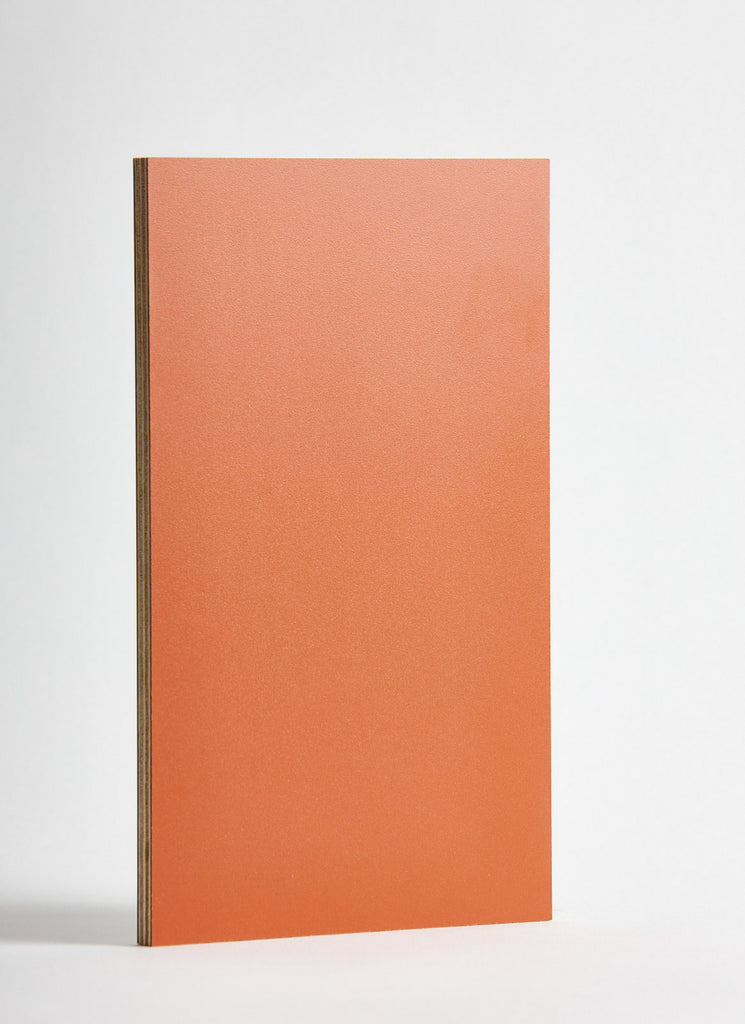 Plyco's Rust Decoply laminated plywood on a white background