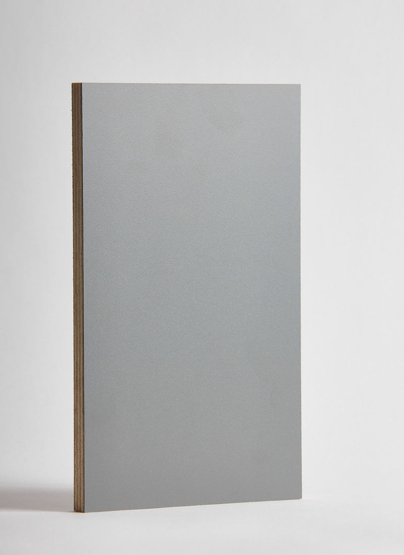 Plyco's Slate Decoply laminated plywood on a white background