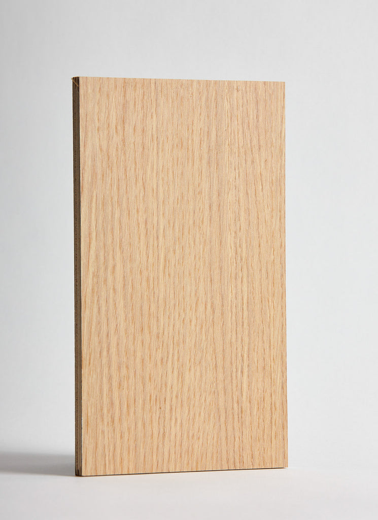 Plyco's White Oak Deccoply laminated plywood on a white background