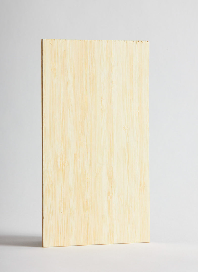 Plyco's Narrow Grain Natural Bamboo 3mm Laserply on a white background