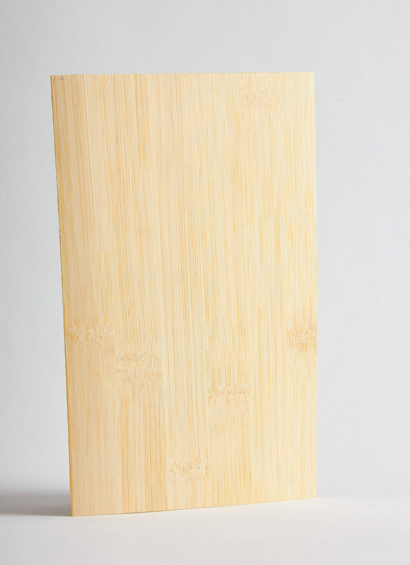 Plyco's Wide Grain Natural Bamboo 3mm Laserply on a white background