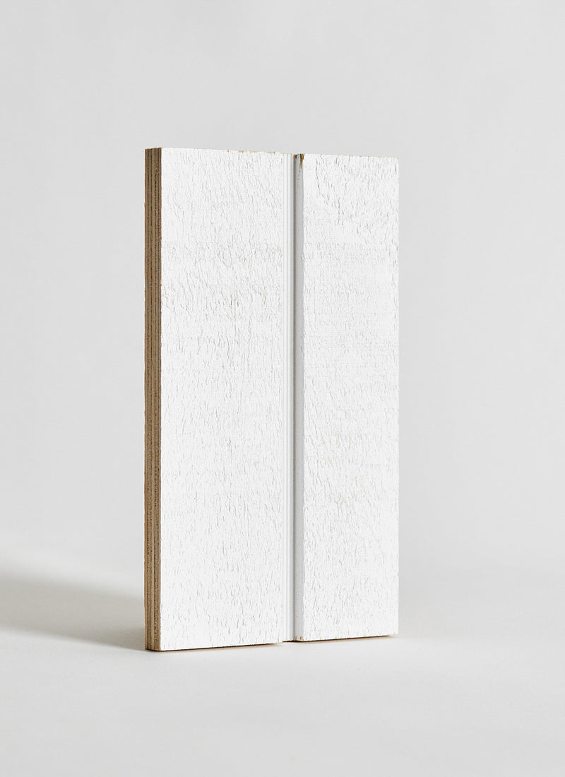 Plyco's UGroove Pinoli (Textured/Primed) timber wall panel on a white background