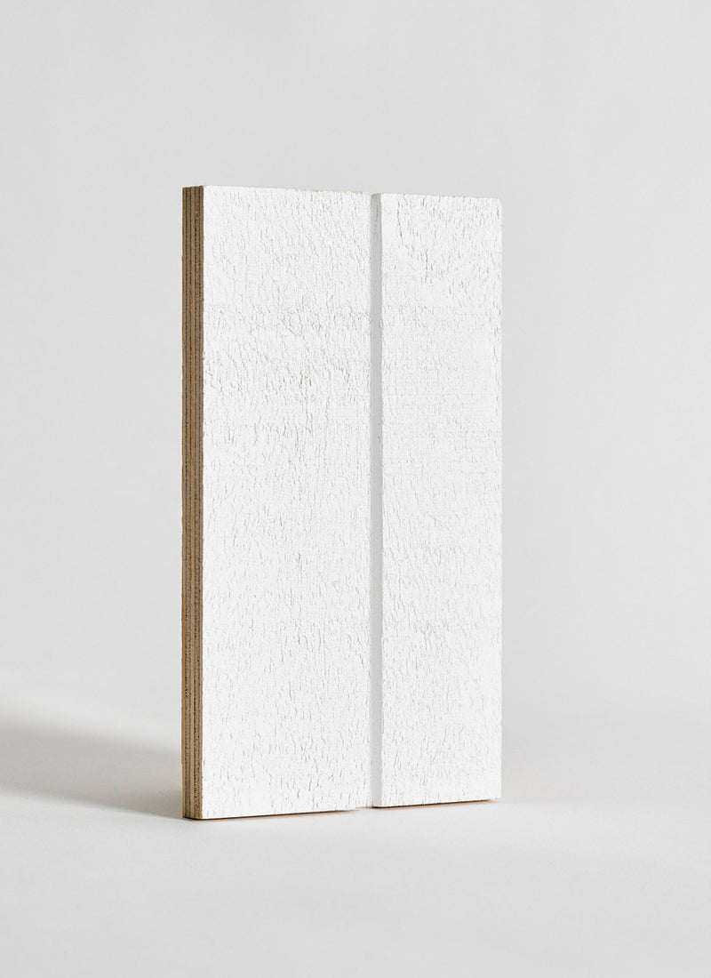 Plyco's VGroove Pinoli (Textured/Primed) timber wall panel on a white background
