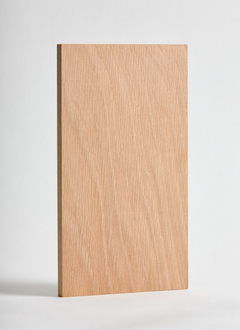Plyco's American Oak on Birch 18mm Quadro plywood panel on a white background