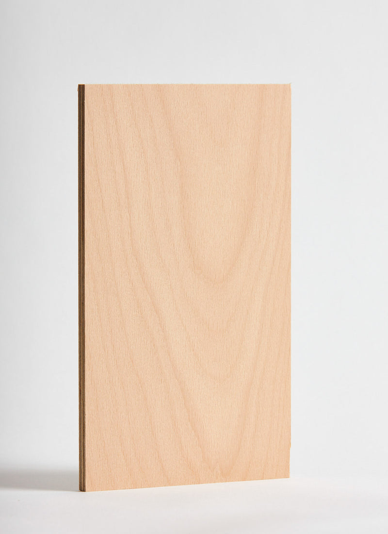 Plyco's European Beech pressed on 18mm Quadro Birch Plywood on a white background