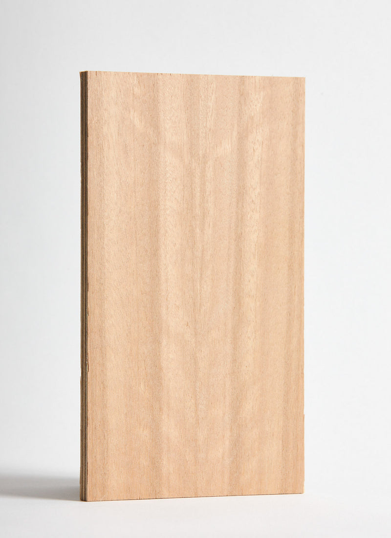 Plyco's Queensland Maple Quadro panel pressed on 6mm Birch Plywood on a white background