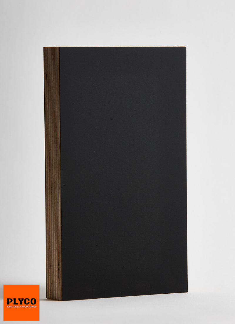 Plyco's black Spotless Laminate pressed onto an 18mm plywood panel on a white background