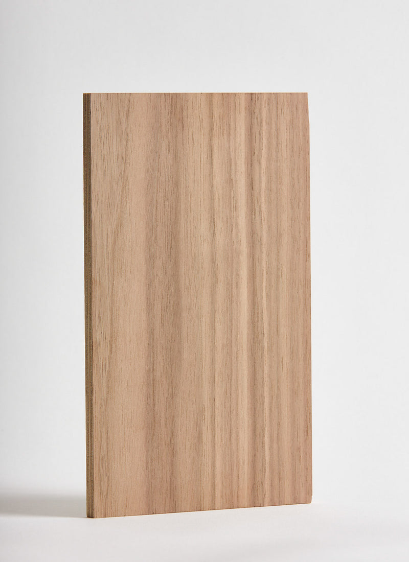 Plyco's American Walnut Strataply pressed on 18mm Birch Plywood on a white background