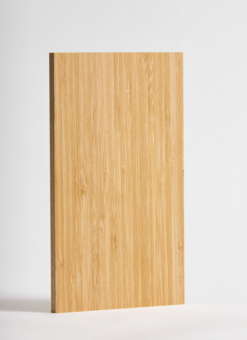 Plyco's Bamboo Strataply pressed on 18mm Birch Plywood on a white backgroundwood on a white background