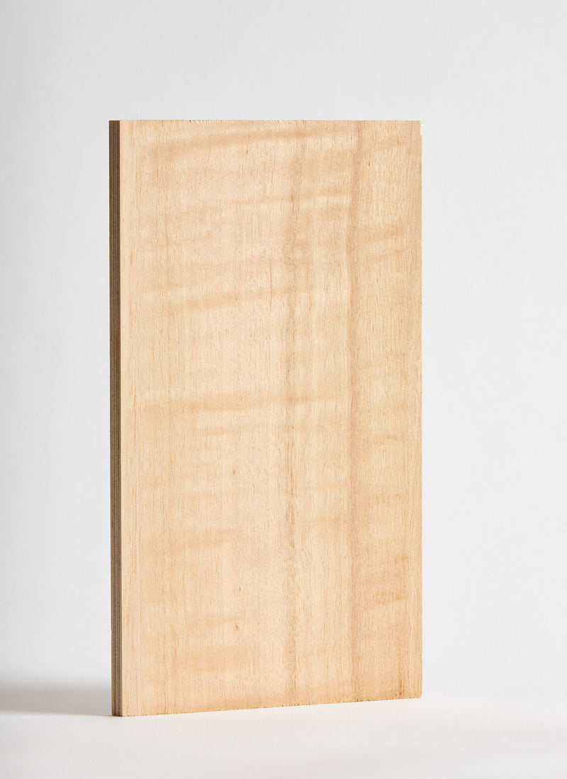 Plyco's Figured Eucalypt Strataply pressed on 18mm Birch Plywood on a white background