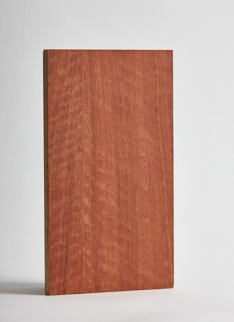 Plyco's Jarrah Strataply pressed on 18mm Birch Plywood on a white background