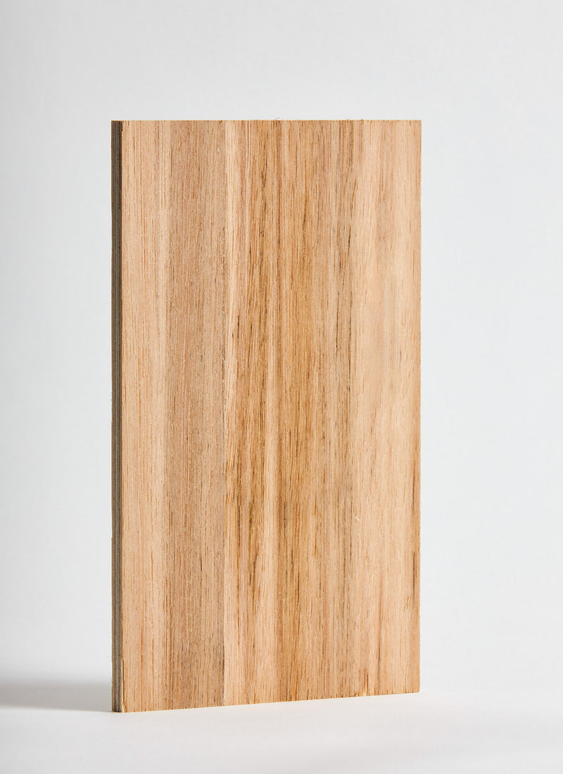 Plyco's NFG Blackbutt Strataply pressed on 18mm Birch Plywood on a white background