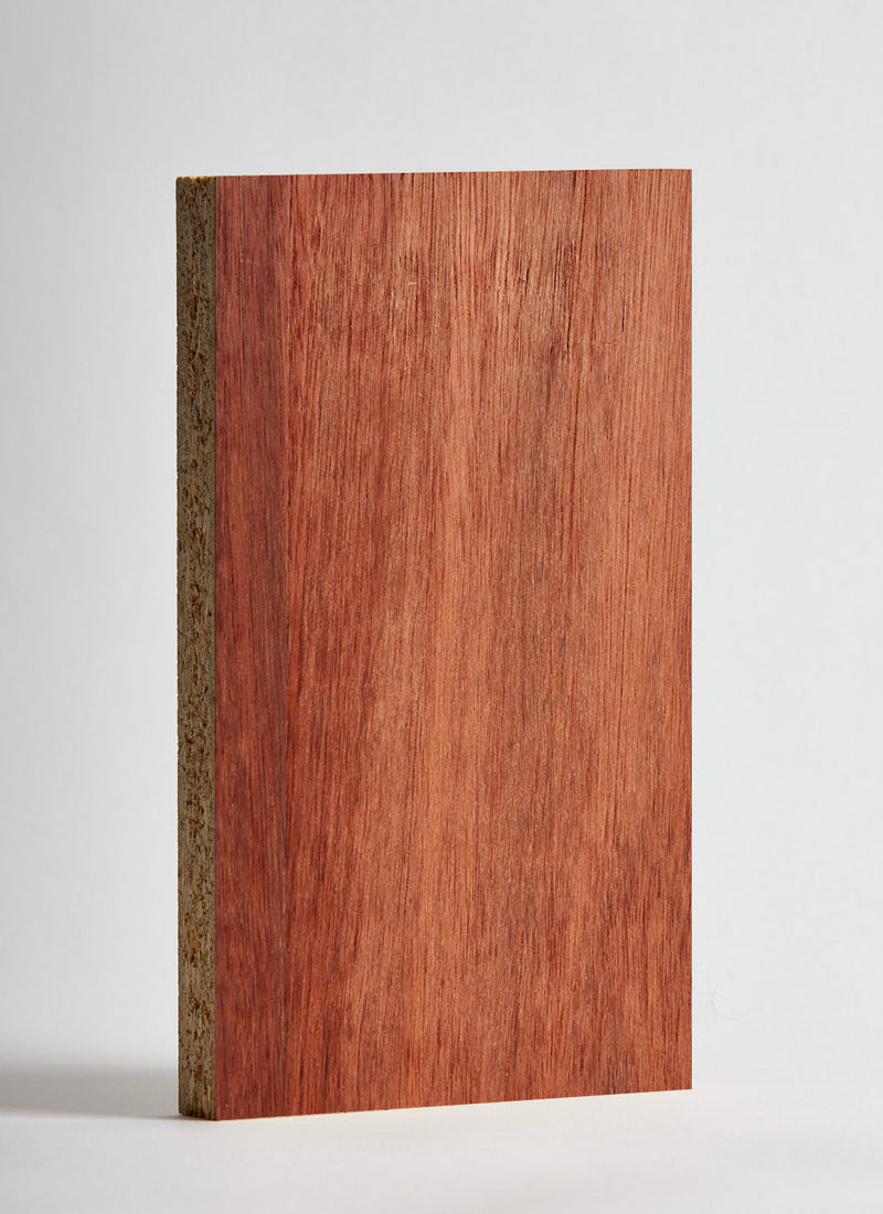 Plyco's 18mm Jarrah Veneered Particle Board on a white background
