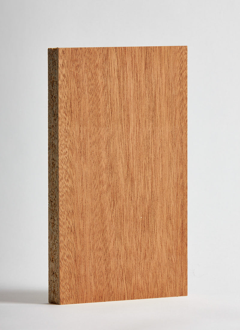 Plyco's 18mm Sapele Veneered Particle Board on a white background