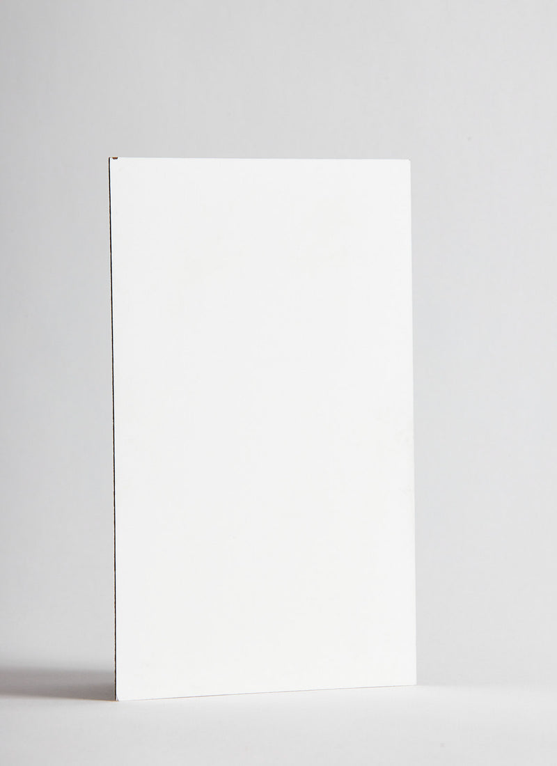 Plyco's 4mm white gloss plywood panel on a white background