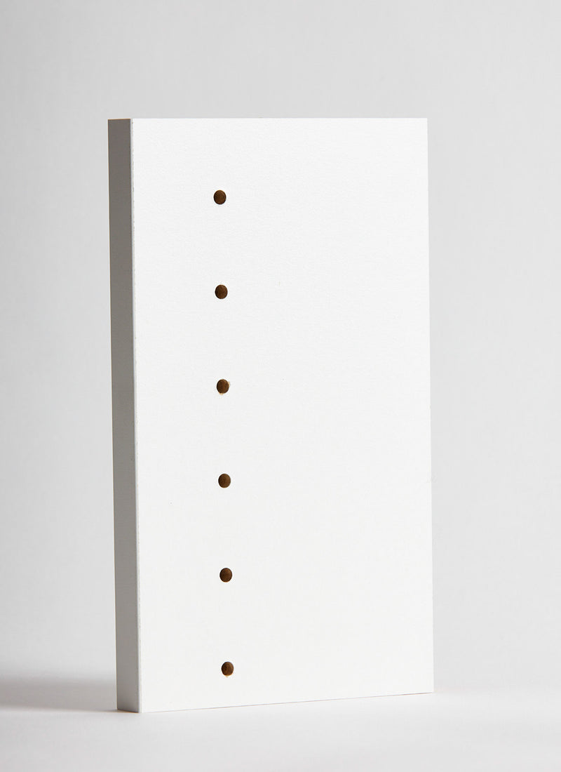 Plyco's 18mm White Melamine with pre-drilled holes on a white background