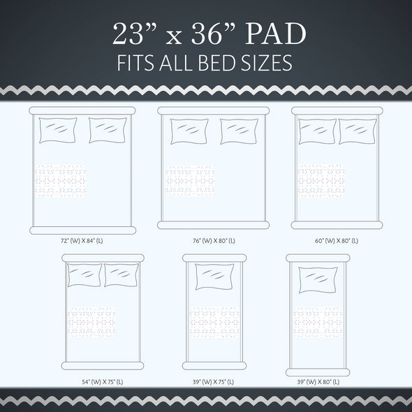 Disposable Bed Pad with Heart and Flower Design (25 Pack)