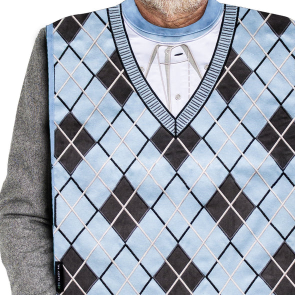 Men's Dress 'n Dine™ Adult Bib Argyle Sweater - Classy Pal Dress 'n Dine Adult Bibs
