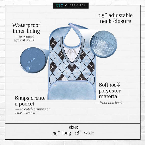 Men's Dress 'n Dine™ Adult Bib Argyle Sweater - Classy Pal