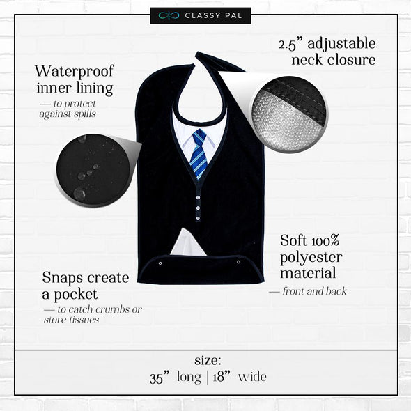 Men's Dress 'n Dine™ Adult Bib with Sweater and Tie - Classy Pal